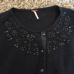 Free people wool sweater with rhinestone detail